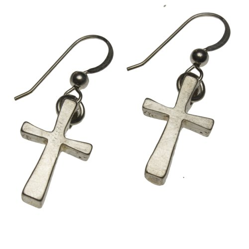 Dangle Wire Pendant Gold Cast (Delicate Cross Silver-dipped Earrings on French Hooks)
