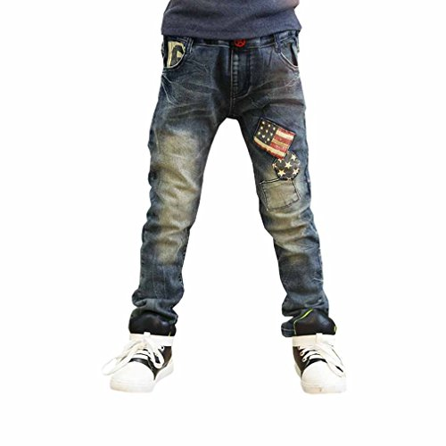 OMSMY Jungen Schneehosen Cowboy-Kreuz-Flagge Modelle der Kinderhosen Kinder Harem lässige Hose Hosen (120 Meter (empfohlene Höhe 110cm))