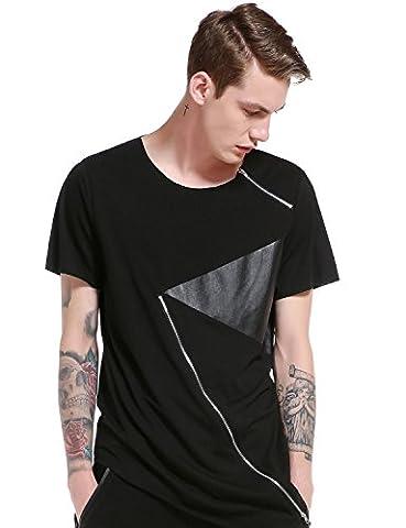 Mens Hipster Pu Leather Patchwork Short Sleeve Zipper Irregular T Shirt Hip Hop Streetwear Tops T81-Black - Short Sleeve Zipper