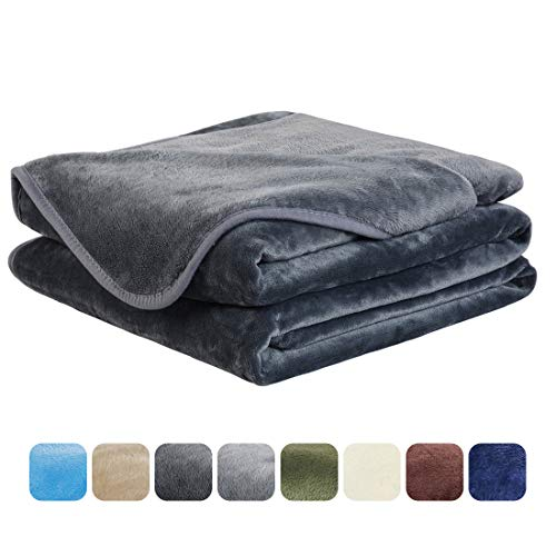 Throw Blank - EASELAND Soft Queen Size Blanket All Season Warm Fuzzy Microplush Lightweight Thermal Fleece Blankets for Couch Bed Sofa,90x90 Inches,Dark Gray