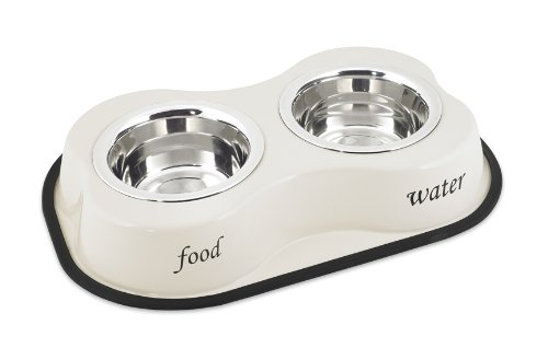 Buddy's Line Bone Shaped Stainless Steel Double Diners Pet Bowl, 1-Pint