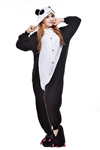 Newcosplay Adult Unisex Panda Onesie Pajamas Costume (M, Red Eye Panda)