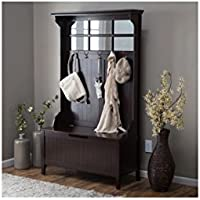 Hall Tree with Storage Bench Espresso Solid Wood Frame 5 Double Hooks Shoe Storage Organizer Jacket Hats Rack Keys Space Saver Home Decor