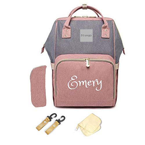 PERSONALIZED Diaper Bag Knapsack Backpack Monogram Baby Bag (Pink/Grey)
