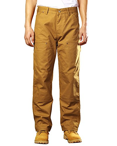 Jessie Kidden Men's Double Front Canvas Work Dungaree Cargo Pant (Knee Pocket Canvas Pant)