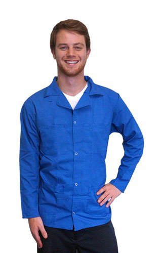 StaticTek 5049 Light Blue Fabric ESD Safe Knit Cuffs Collared Lab Coat-Certified Level 3 Static Shielding ESD Smock Jacket for Anti-Static Work Places,2XL | TT_JWC5406LB