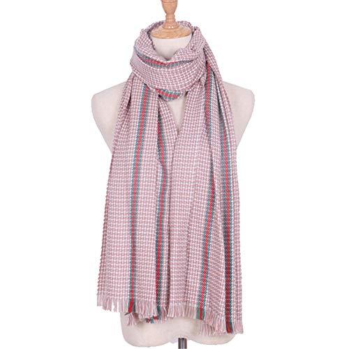 (AFBLR Scarf shawl bib shawl cloak Scarf women's autumn and winter warm long section imitation cashmere ribbon tassel scarf, pink)