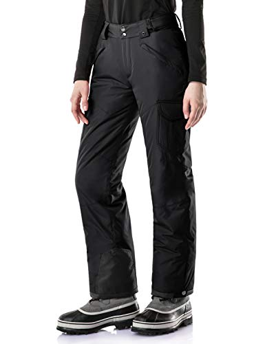 TSLA Women's Rip-Stop Snow Pants Windproof Ski Insulated Water-Repel Bottoms, Snow Cargo(xkb92) - Black, X-Small/Short (Waist23.5~25.5,Hips:33.5-35.5 Inch)