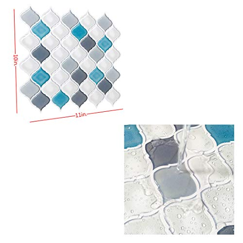 Peel and Stick Wall Tile for Kitchen Backsplash-Slant Blue&White Arabesque Tile Backsplash-Kitchen Backsplash Tiles Peel and Stick Wall Stickers,6 Sheets by FAM STICKTILES (Image #1)