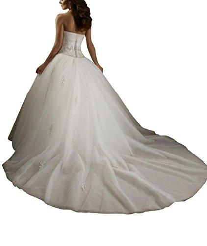 Ball Novia Vestidos Tuell Boda Aplicaciones Ueber Punta Perlas nbsp;– Satén Seres George Weiß De Bride Con Queridos nbsp;vestido xHI6qnwPZU