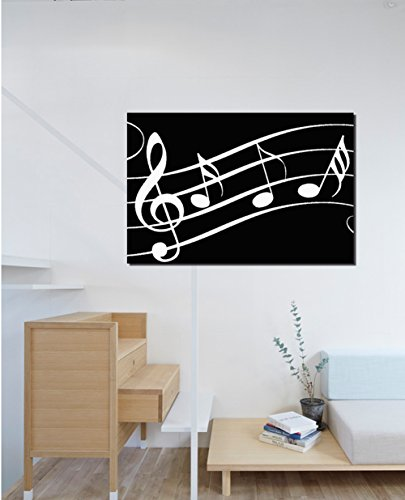 COLORSFORU Music Notes Black and White Custom Poster 20x30 Inch Canvas Wall Art Print Home Modern Decoration
