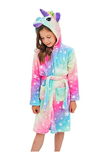 Soft Unicorn Hooded Bathrobe Sleepwear - Unicorn Gifts for Girls (10-11 Years, Rainbow Star)