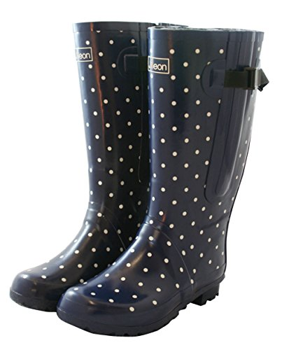 Jileon Extra Wide Calf Rubber Navy Blue Rain Boots for Women-Widest Fit Boots in The US-up to 21 inch Calves-Wide in The Foot and Ankle-Durable Boots for All Weathers- 11 (XW) by Jileon