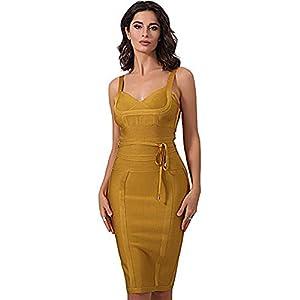 whoinshop Women's Tie Waist Contrast Bodycon Short Pencil Bandage Dress