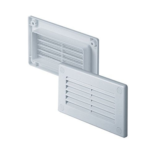 KP55 Ventilation Grille, Anti-Insect, Square, 55 x 110 mm, White Awenta