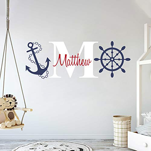 Custom Name & Initial Rudder & Anchor - Nautical Theme - Baby Boy - Wall Decal Nursery for Home Bedroom Children (AM) (Wide 50 x 18 Height)