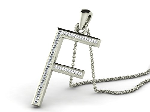 Or Blanc 18 ct Pendentifs Diamant en forme de F Alphabet, 0.15 Ct Diamant, GH-SI, 1.3 grammes.