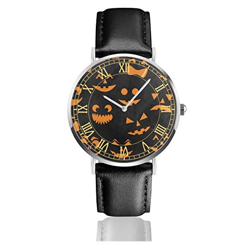 Orange Halloween Pumpkin Cat Men's Fashion Minimalist Unisex Wrist Watch with Silvery Stainless Steel Watchcase, Leather Band, Crystal Dial 38mm ()