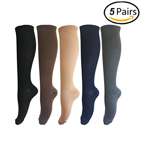5 Pairs Compression Socks Men & Women (15 20mmHg), Graduated Athletic Fit for Running, Nurses, Shin Splints, Flight Travel, Boost Stamina, Circulation and Recovery
