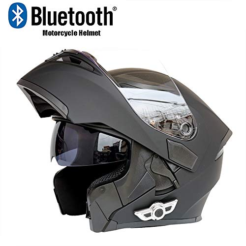 Evin Full Face Bluetooth Integrated Motorcycle Helmet Headset, Modular Flip Double Sunshade Motorcycle Helmet 800 Mah Listening Song 20 Hours Men and Women Rainproof,M