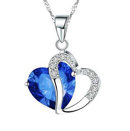 (KAILIN Women Necklace Crystals Plated Pendant Jewelry Heart Necklaces Gifts for Girls Silver-Tone Heart Pendant Colorful Memory Ornaments to Lover Mother Wife Girlfriend (Silver&Royal Blue))