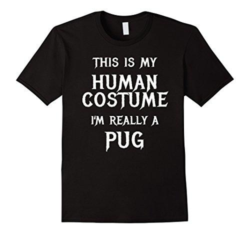 Mens Pug Halloween Costume Shirt Funny for Women Men Boys Girls Large Black