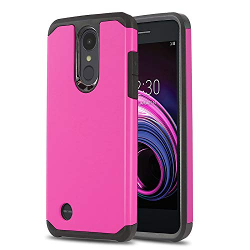 Phone Case for [LG Rebel 4 LTE (L212VL, L211BL)], [DuoTEK Series][Hot Pink] Shockproof Cover [Impact Resistant][Defender] for LG Rebel 4 LTE (Tracfone, Simple Mobile, Straight Talk, Total Wireless) (Pink Straight Talk Phones)