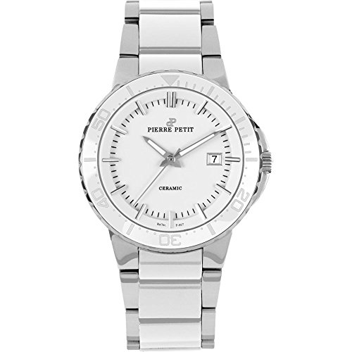 Pierre Petit Men's P-807B Serie Colmar White Ceramic and Stainless-Steel Bracelet Watch