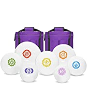 """Chakra Tuned Set of 7 Paternoster Frosted Quartz Crystal Singing Bowls 6""""-12"""""""