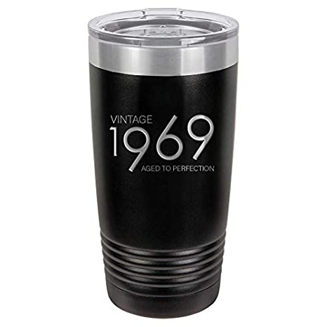 1969 50th Birthday Gifts For Men And Women Black 20 Oz Insulated Stainless Steel Tumbler