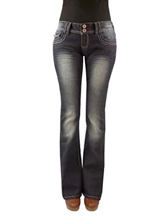 Angels Women's Plus Two Button Basic Dark Wash Boot Cut Jeans, 28 Blue