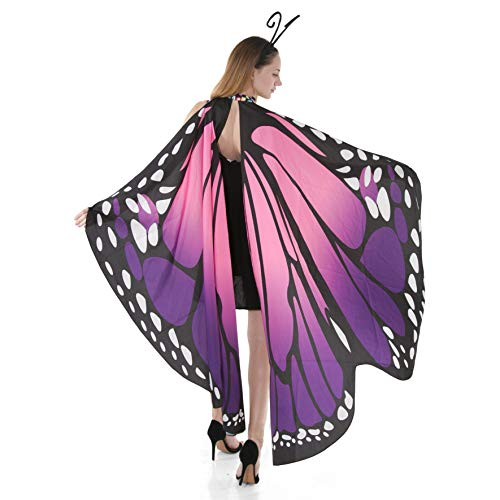 Spooktacular Creations Butterfly Wings Cape Fairy Shawl Costume Accessory with Antenna Headband Purple