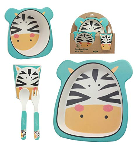 (Ebros Whimsical Madagascar Safari Zebra 5 Piece Dinnerware Set For Kids Children Toddler Baby Made Of BPA Free Eco Friendly Organic Bamboo Fiber Fork Spoon Plate Bowl And Cup Ideal Baby Shower Gift)