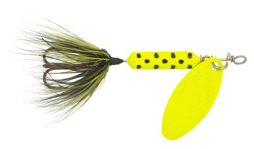 Yakima Bait Wordens Original Rooster Tail Spinner Lure, Chartreuse Dot, 1/16-Ounce