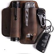 Gentlestache Leather Sheath for Leatherman Multitool Sheath EDC Pocket Organizer with Key Holder for Belt and
