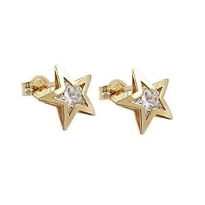 Pendientes oro 375 conector estrella, estrella circonios, 9 KT oro