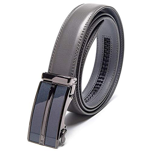 Men's Leather Automatic Buckle Ratchet Dress Belt for Men Perfect Fit Waist Size Up to 46