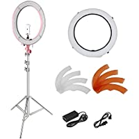 Neewer 18-inch Outer Dimmable Ring Light Kit for Make Up Photo Studio Portrait Video Shooting, Includes: 5500K SMD LED Dimmable Ring Video Light, Light Stand, Diffuser, Ball Head, Phone Holder (Pink)