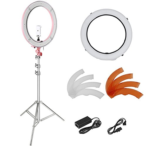 Neewer 18-inch Outer Dimmable Ring Light Kit for Make Up Photo Studio Portrait Video Shooting, Includes: 5500K SMD LED Dimmable Ring Video Light, Light Stand, Diffuser, Ball Head, Phone Holder (Pink) by Neewer