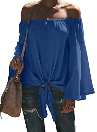 (Asvivid Womens Off The Shoulder Blouses Long Flare Bell Sleeve Self Tie Shirt Ladies Chiffon Blouses M Blue)