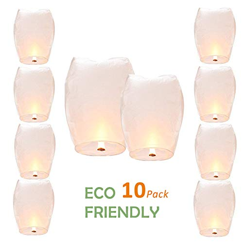 Chinese Lanterns,Sportsvoutdoors ECO Friendly Flying Sky Paper Lanterns,Fully Assembled,100% Biodegradable,New Designed Wishing Lanterns White for Birthdays, Weddings, Christmas, Memorials - 10 Pack