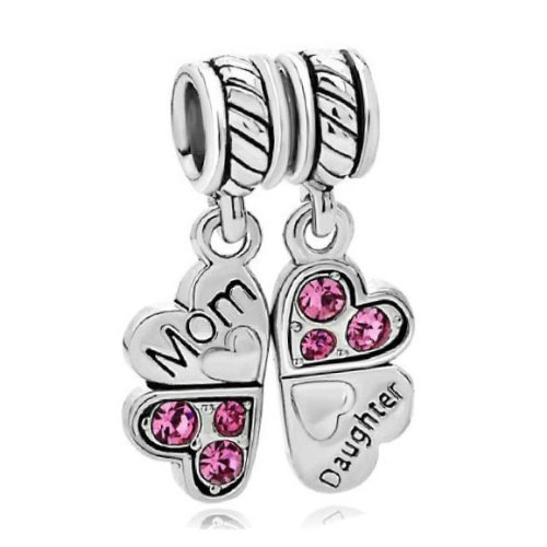 Sterling Silver Mom Daughter Love Heart Pink Crystal Mother's Day gift Family European Bead Charm (Pandora Rhinestone)