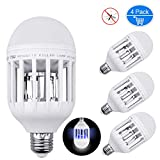 Inpher 4 Pack Bug Zapper Light Bulb, UV LED Mosquito Killer Lamp 1200LM 15W 2 in 1 Electronic Insect Killer, Fits in 110V E26 E27 Repellent Bulb Socket Base for Indoor Outdoor Porch Patio Backyard