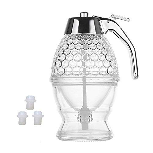 - Honey dispenser, 200ML honey and syrup dispenser USES food-grade acrylic (not glass)- no bisphenol a, no dripping, moderate flow, 8 oz (with 3 silicone plugs).