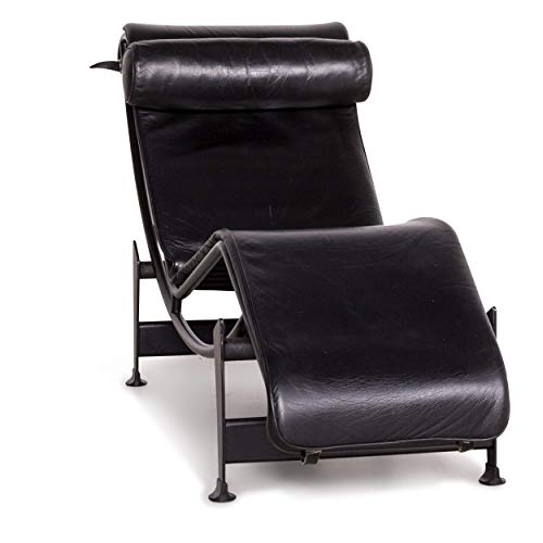 Cassina Le Corbusier LC 4 Designer Leather Lounger Black Real Leather Armchair ()