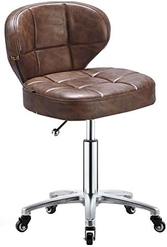 WEIYV Swivel Chair Modern Fashion Belt Pulley Height Adjustable Beauty Chair Massage Chair Cushion Seat Salon Stool Home Decoration Furniture Work Chair Color : Brown