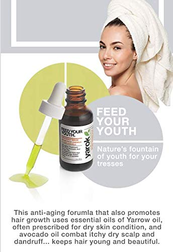 Yarok Hair and Scalp Serum Feed Your Youth. Pre Shampoo Anti Aging Treatment. For All Hair Types, Vegan, Without Alcohol, Sulfate, Parabens, Toxins and Gluten. Made in USA (1 Ounce)