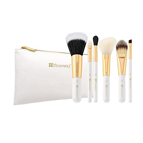 Bright White - 6 Piece Brush Set with Cosmetic (6 Piece Makeup Set)