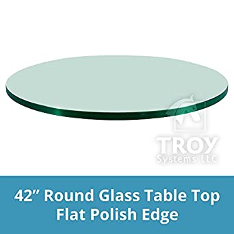 TroySys Tempered Glass Table Top, 3/8u0026quot; Thick, Flat Polish Edge,