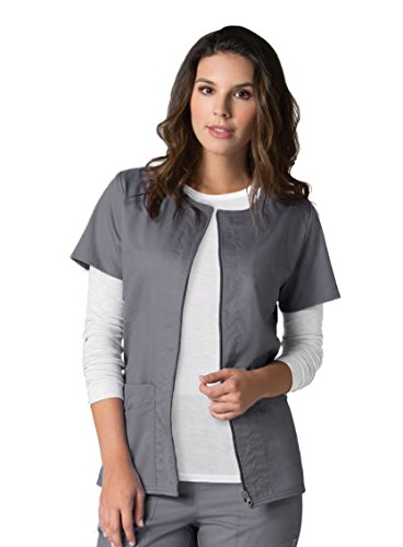 eon-womens-coolmax-short-sleeve-zip-front-solid-scrub-jacket-x-small-white